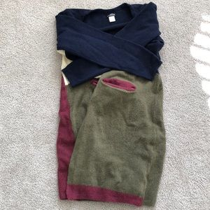 Extra long block color sweater